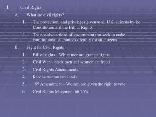 Civil Rights What are civil rights?