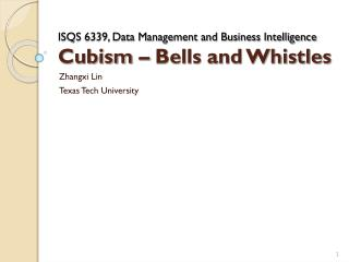 ISQS 6339, Data Management and Business Intelligence  Cubism – Bells and Whistles