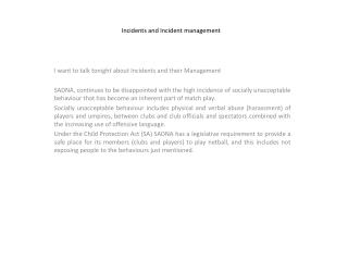 Incidents and Incident management