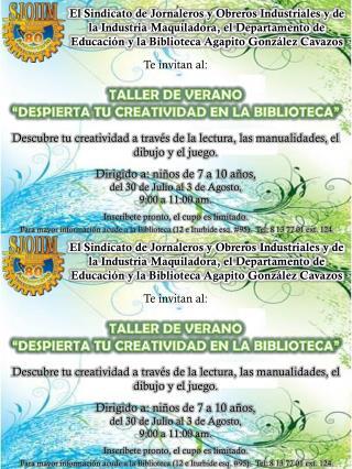 Te invitan al: TALLER DE VERANO �DESPIERTA TU CREATIVIDAD EN LA BIBLIOTECA�