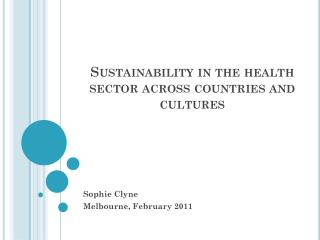 Sustainability in the health sector across countries and cultures