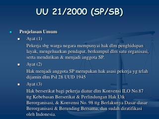 UU 21/2000 (SP/SB)