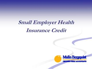 Small Employer Health Insurance Credit