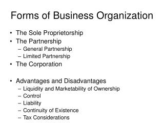 Forms of Business Organization