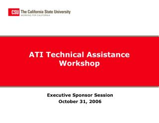 ATI Technical Assistance Workshop
