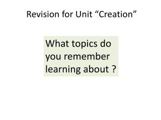 "Revision for Unit ""Creation"""
