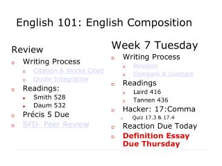 English 101: English Composition