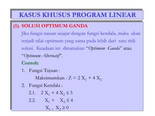 KASUS KHUSUS PROGRAM LINEAR