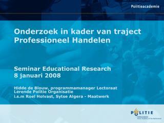 Onderzoek in kader van traject Professioneel Handelen