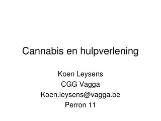 Cannabis en hulpverlening