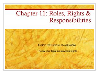 Chapter 11: Roles, Rights & Responsibilities