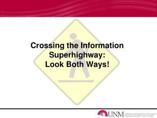 Crossing the Information Superhighway: Look Both Ways!