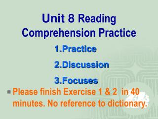 Unit 8  Reading Comprehension Practice