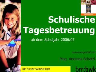 Schulische Tagesbetreuung ab dem Schuljahr 2006/07 zusammengestellt von Mag. Andreas Schatzl