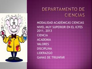 DEPARTAMENTO DE CIENCIAS
