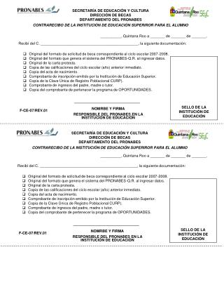SECRETARÍA DE EDUCACIÓN Y CULTURA DIRECCIÓN DE BECAS DEPARTAMENTO DEL PRONABES