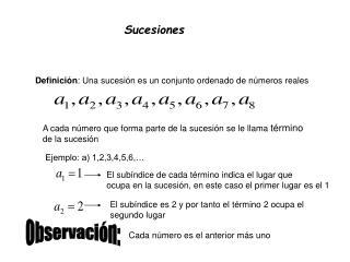 Definición : Una sucesión es un conjunto ordenado de números reales