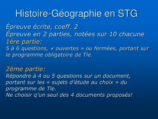 Histoire-G ographie en STG