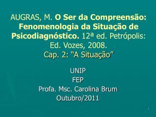 UNIP FEP Profa. Msc. Carolina Brum Outubro/2011