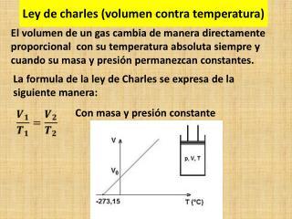 Ley de charles (volumen contra temperatura)