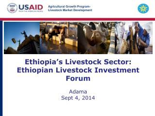 Ethiopia's Livestock Sector: Ethiopian Livestock Investment Forum Adama Sept 4, 2014