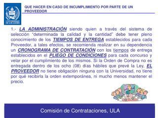 Comisión de Contrataciones, ULA