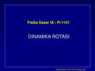 Fisika Dasar IA : FI-1101