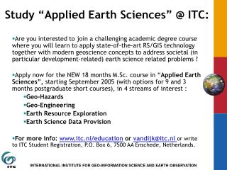"Study ""Applied Earth Sciences"" @ ITC:"