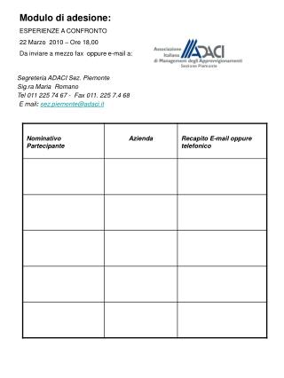 Modulo di adesione: ESPERIENZE A CONFRONTO 22 Marzo  2010 – Ore 18,00