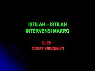 ISTILAH – ISTILAH             INTERVENSI MAKRO