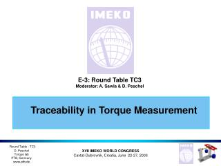 Traceability in Torque Measurement