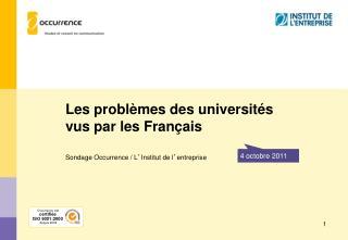 Les problèmes des universités vus par les Français