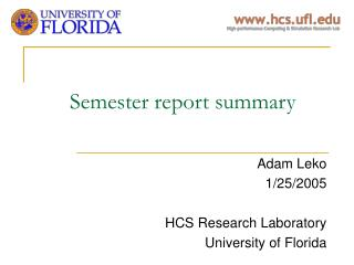Semester report summary