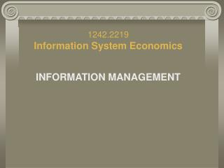 1242.2219  Information System Economic s INFORMATION MANAGEMENT