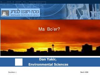 Dan Yakir,   Environmental Sciences