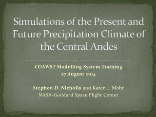 Simulations of the Present and Future Precipitation Climate of the Central Andes