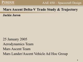 Mars Ascent Delta-V Trade Study & Trajectory