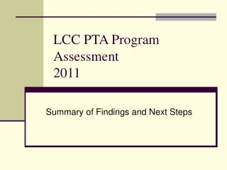 LCC PTA Program Assessment 2011