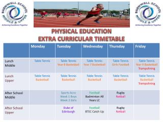 PHYSICAL EDUCATION EXTRA CURRICULAR TIMETABLE
