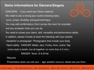 Demo informations for Dancers/Singers