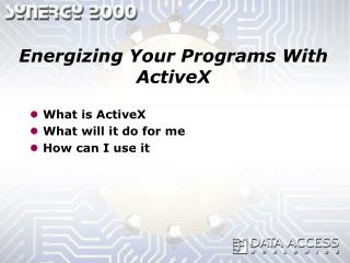 Energizing Your Programs With ActiveX