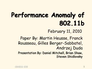Performance Anomaly of 802.11b