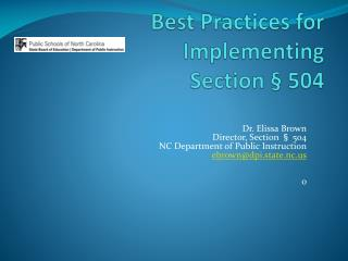 Best Practices for Implementing Section � 504