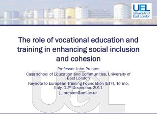 The role of vocational education and training in enhancing social inclusion and cohesion