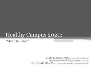 Healthy Campus 2020: