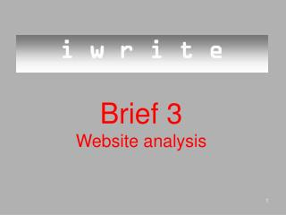 Brief 3 Website analysis
