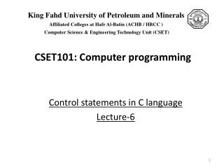 Control statements in C language  Lecture-6