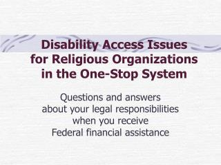 Disability Access Issues for Religious Organizations in the One-Stop System