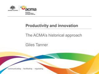 Productivity and innovation