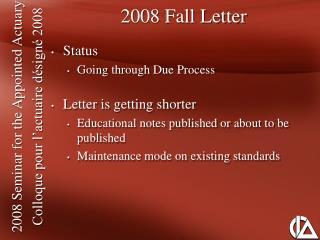 2008 Fall Letter